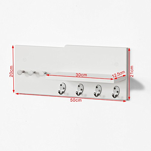 SoBuy FRG54-W, Moderna estantería de Pared, Perchero, Estante de Pared, Estante, Colgador de Llaves, Blanco, ES