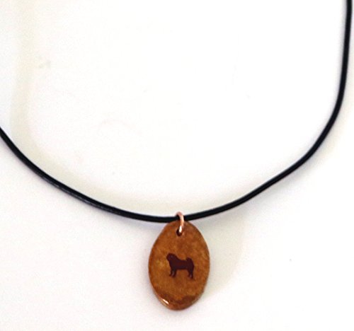 Silhouette Oval Necklace (Pug Dog Silhouette Necklace Pendant Jewelry Ceramic Pottery Oval Adjustable)
