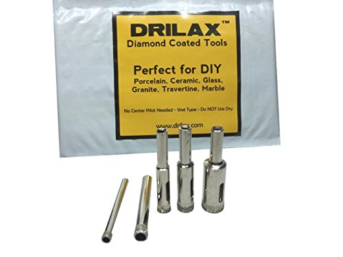 - Drilax 5 Pieces Diamond Coated Hollow Core Drill Bit Set 3/16, 1/4, 5/16, 3/8, 1/2 Inch Drilling Tile Glass Fish Tank Granite Ceramic Porcelain Bottles Quartz Lot Kitchen Bathroom Shower Lamps