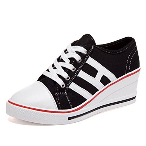 Talon Compensées Chaussures Tennis Compensé Casuel Sport Femme Noir Mode Baskets Sneakers De Toile Sq5RwU