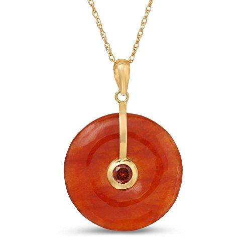Red Jade Pendant - Regalia by Ulti Ramos 14K Yellow Gold 21mm Round Jade Pendant Necklace with Gemstone 18
