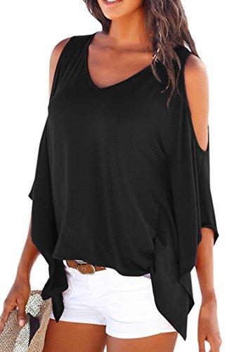 Pink-QueenWomens-Off-Shoulder-Batwing-Sleeve-V-Neck-Shirt-Tops-Blouse