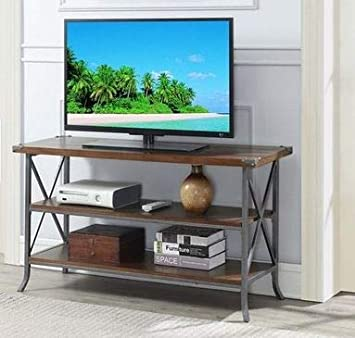 Amazon Com Tv Stand For 42 Inch Tv Dark Walnut Wood Slate Grey