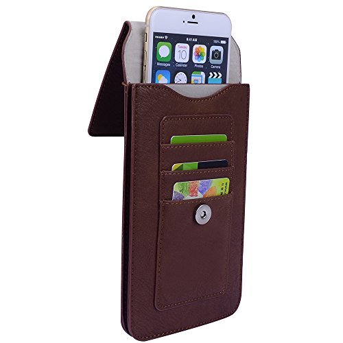 Vertical Leather Cell Phone Belt Holster Case Pouch w Clip Loop Card Slots for iPhone Xs Max 7+ 8 Plus Samsung Galaxy S8…