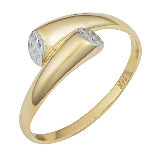 14k Two-Tone Gold Diamond Cut Bypass Ring, Size 7 ()