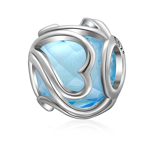 (ABUN Radiant Heart Glass Charm 925 Sterling Silver Birthstone Love Charm for 3mm Snake Chain Bracelet (Blue))