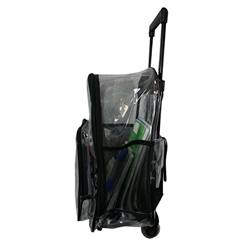 Rolling Clear Backpack Heavy Duty Bookbag Quality See Through Workbag Travel Daypack Transparent School Book Bags with Wheels Black by K-Cliffs (Image #2)
