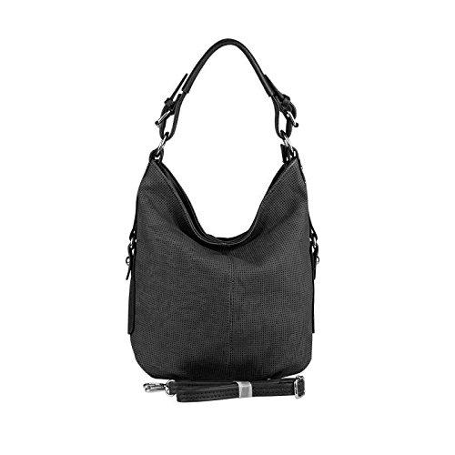 OBC DAMEN TASCHE SHOPPER Hobo-Bag Henkeltasche Schultertasche Umhängetasche Handtasche CrossOver CrossBag Damentasche Reisetasche Beuteltasche (Weiß) Schwarz 1gJnnNx