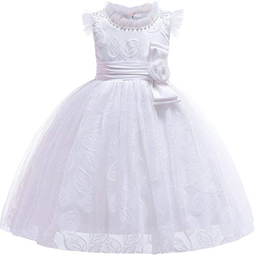 Baby Girls 3D Flower Embroidery Silk Princess Dress for Wedding Party Kids Dresses,White,7 -