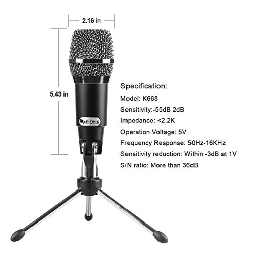 FIFINE TECHNOLOGY USB Microphone,Fifine Plug &Play Home Studio USB Condenser Microphone for Skype, Recordings for YouTube, Google Voice Search, Games(Windows/Mac)-K668 by FIFINE TECHNOLOGY (Image #2)'