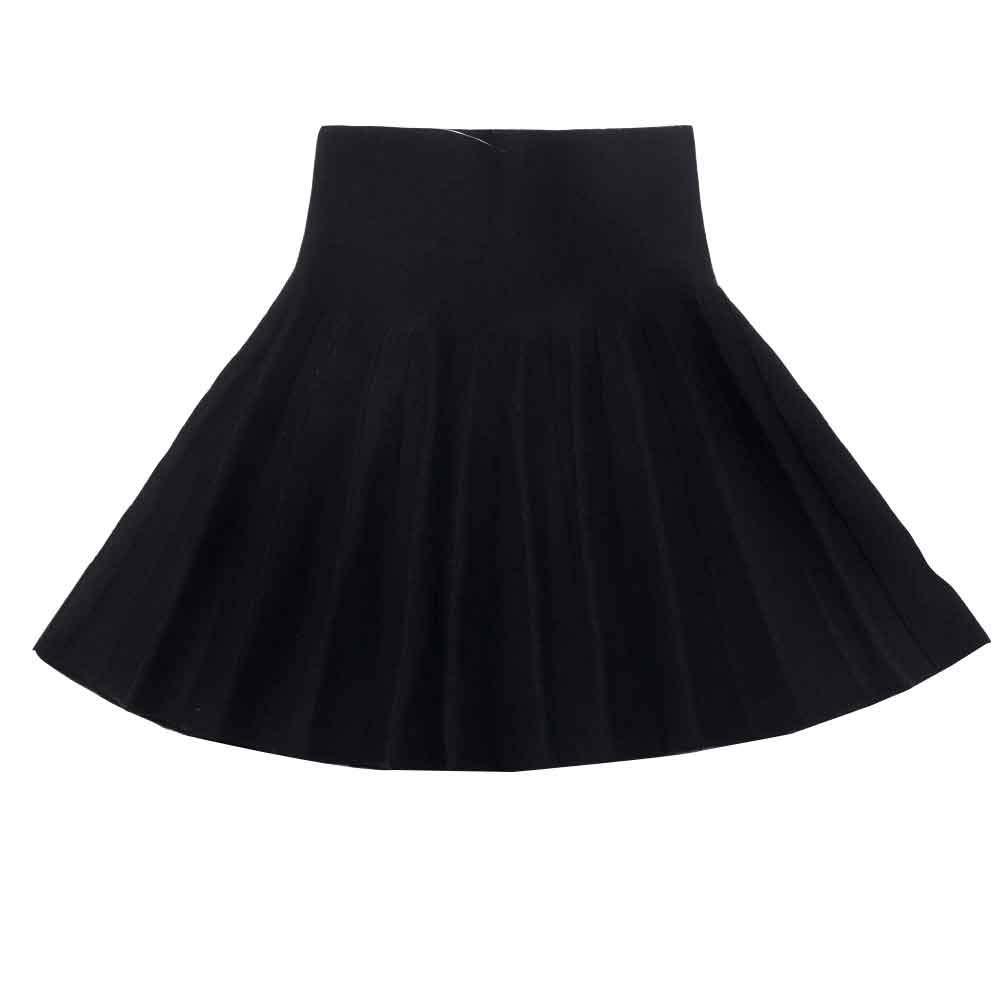 Girls High Waist Knitted Flared Pleated Skater Skirt Casual Mini Skirt Black Tag 150 (11-12 Years)