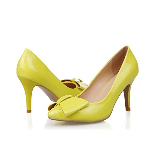 AmoonyFashion Womens Closed-Toe Pointed-Toe High-Heels Pumps-Shoes With Bow-Tie Yellow EzscGAtA