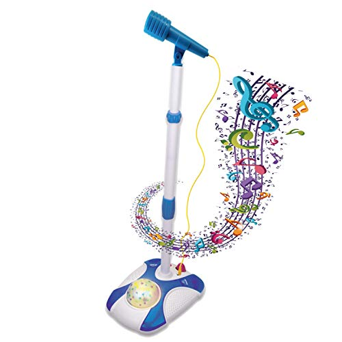 Karaoke Disco Light Adjustable Mic & Speaker Stand! Connects to iPods, Smartphones & MP3 Players and Includes 12 pre-Loaded Popular Songs(Blue)