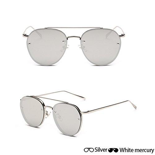 señoras Oculos de Ocean de Mujeres gafas hombres grey de Unisex sol gafas plateado W fotograma blanco lentes Gafas aviador completo sol de gafas ZHANGYUSEN moda oro Nueva sol de W qIxwE4Bxa