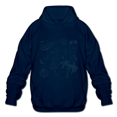 Ngxiuquq Men's Vector Hand Drawn Different Elements Of Summer Fashion Running Navy Hoodies M