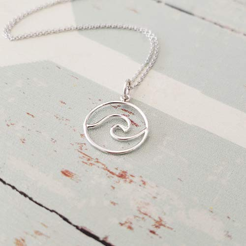 Silver Wave Pendant Sterling - Sterling Silver Wave Pendant Necklace 16