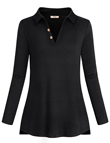- Miusey Long Sleeve Tops for Women, Ladies Clothes V Neck Lightweight Sweatshirt Solid Color Shirred Flared Bottom Draped Sporty Hip Stylish Tunics Black M