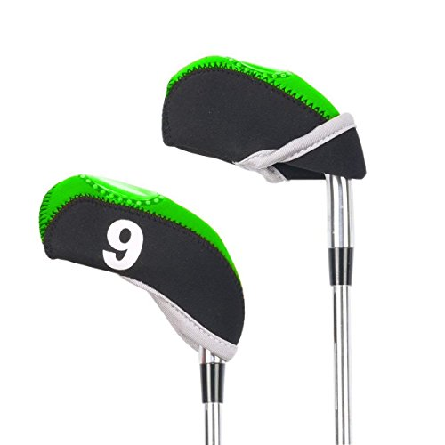 VORCOOL Golf Head Covers,10 PCS Iron Head Covers Club Covers Neoprene Club Headcovers Iron Putter Headcover Fit All Brands(Black and Green)