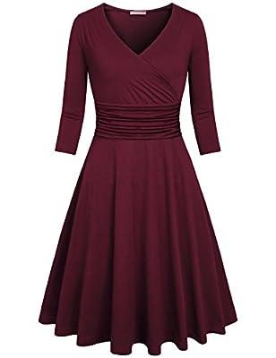 Kimmery Women's Cross V Neck 3/4 Sleeve Fit Flare Empire Waist Dress