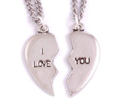 "St Justin, Pewter Broken Heart - I Love You Pendants - 18"" Curb"