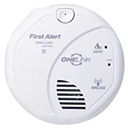 First Alert Smoke Alarm, Wireless Battery Powered Photoelectric Onelink w/ Voice Warning