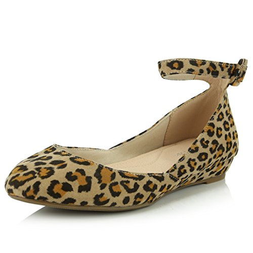 DailyShoes Women's Fashion Adjustable Ankle Strap Buckle Pointed Toe Low Wedge Flat Shoes, Leopard Suede, 9.5 B(M) US ()