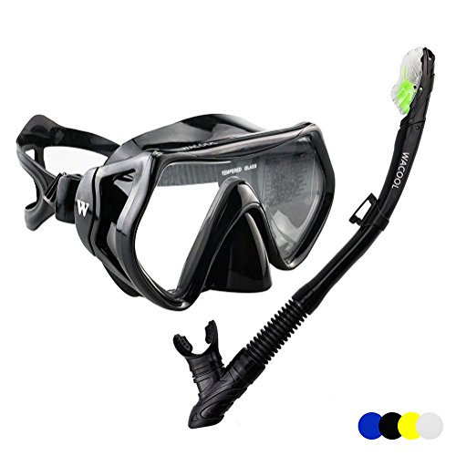 WACOOL Snorkeling Package Set for Adults, Anti-Fog Coated Glass Diving Mask, Snorkel with Silicon Mouth Piece,Purge Valve and Anti-Splash Guard.(Black) Easy Clear Nose Purge Mask