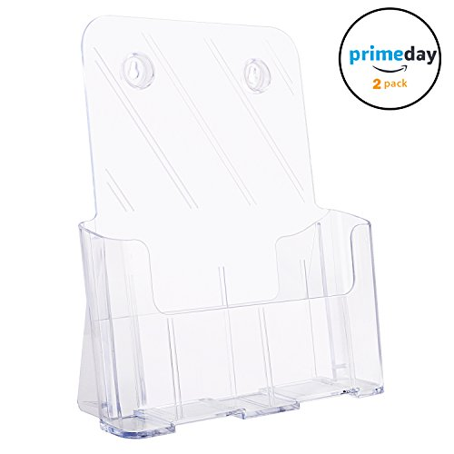 """Ktrio Sign Holder Brochure Holder 8.5"""" Wall Mount Flyer Holder Acrylic Brochure Holder Literature Holder Clear Acrylic Countertop Organizer Full Page 8.5"""" x 11"""" 2Pack"""