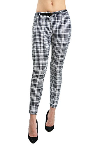 Fandsway Womens Fashion Dressy Casual Skinny Fit Belted Pants