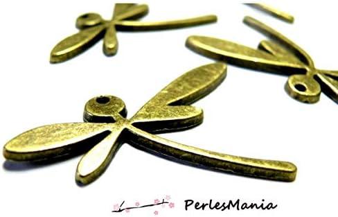 perlesmania.com 4 Magnifiques Pendentif breloque Bronze Libellule ref 257G