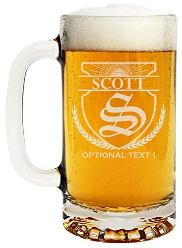 (Personalized Etched Monogram 16oz Glass Beer Mug)