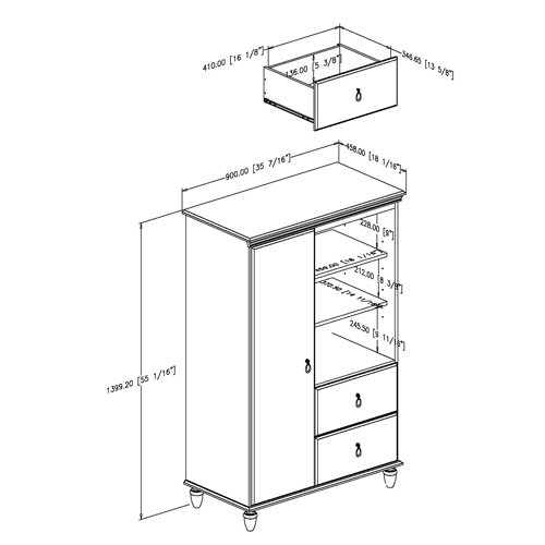 South Shore Moonlight Collection Door Chest, Pure White