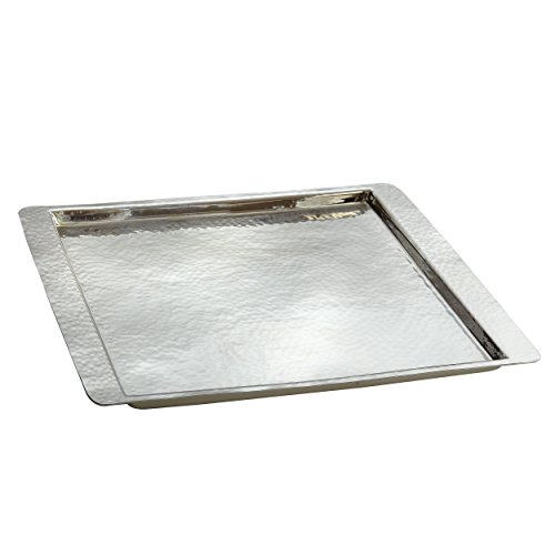 Elegance Hammered Stainless Steel Square Tray, Small - Square Silver Tray