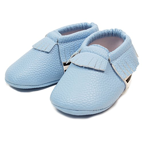 Frills Infant Toddlers Baby Boys and Girls Soft Soled Fringe Crib Shoes PU Moccasins - Striped Blue (for Ages 6-12 months/12 cm Length) by Frills Du Jour