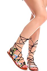 Forever Link FAUX LEATHER MATERIAL BACK ZIPPER MULTI CUTOUT DESIGN OPEN TOE KNEE HIGH SANDALS 75 black