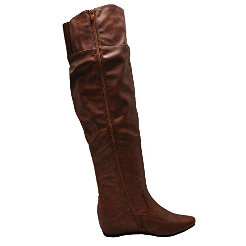 Blossom Amar 53A Casual Over the Knee Riding Womens Boots Cognac WBnwo3fpyL