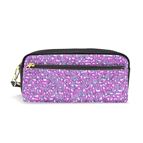 (Convexity Pink Roughness Print Pu Leather Pen Pencil Case Pouch Case Makeup Cosmetic Travel School Bag)