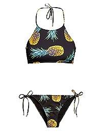 Heybaby Women's Pineapple Printing Halter Padding Bikini Set