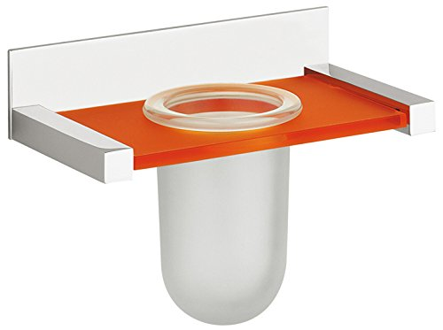 (WS Bath Collections Quadra Wall Mounted Tooth Brush Holder, Chrome/Orange)