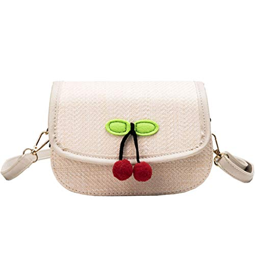 (Women Handmade Straw Woven Flap Crossbody Cherry Pendant Magnetic Clasps Satchel Bags Small Saddle Purse Shoulder Bag Crossbody Bag)