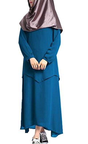 Abito Lunga Arabo Cromoncent Abito Delle Manica Musulmano Scuro Islamico Altalena Abaya Blu Lungo Donne xwXg04q0f