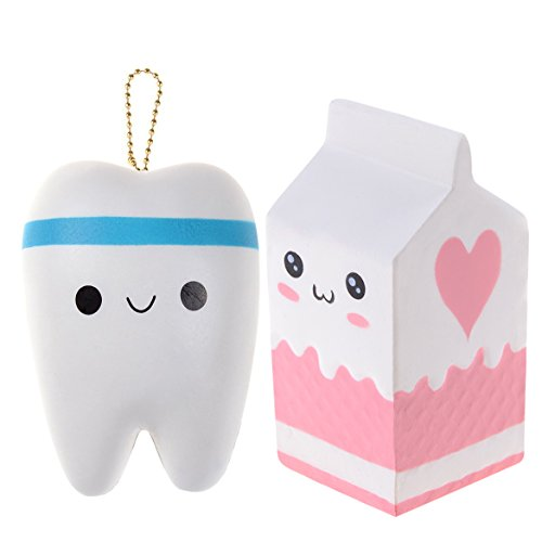 2 Pcs Jumbo Squishies Tooth Slow Rising Toys Large Teeth Milk Carton Bottle,Kawaii Stress Relief Toys Scented Squeeze Suitable for Kid Toy Phone Charm Gift by (Bottle Carton)