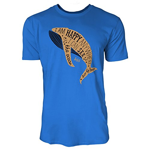 SINUS ART ® I Am Happy Anywhere I Can See The Ocean Herren T-Shirts in Blau Fun Shirt mit tollen Aufdruck