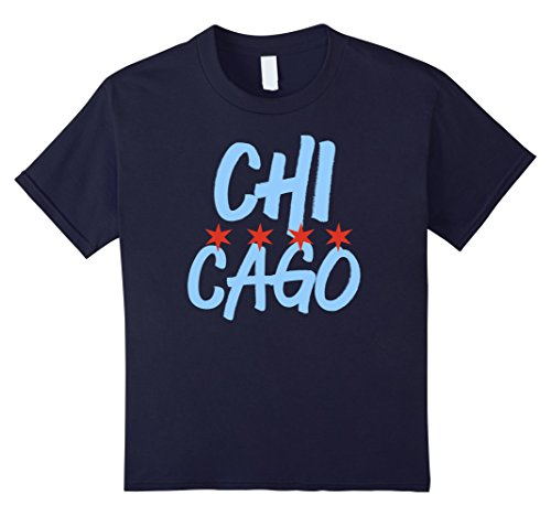 Kids CLASSIC CHICAGO FLAG Custom City T Shirt 12 Navy