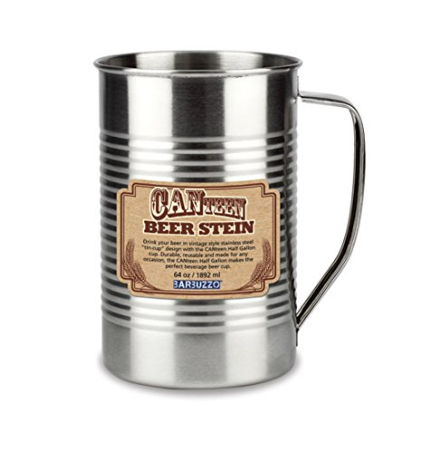 Barbuzzo CANteen Beer Stein and Pitcher, 64 Ounces (Half Gallon) - Made of Quality Stainless Steel for Big-Time Fun & Unlimited Enjoyment - Perfect for Outdoor Camping, Celebrations & Tailgates