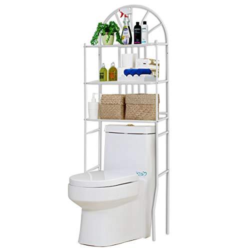 - Tangkula 3-Tier Toilet Shelf Bathroom Space Saver Chrome Over The Toilet Shelf Organizer Multi-Layer Classic Design Metal Frame Study Waterproof Free Standing Bathroom Shelves (68