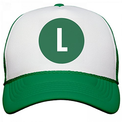 Cute Mario And Luigi Halloween Costumes (Green L Costume Accessory: OTTO Poly-Foam Snapback Trucker Hat)
