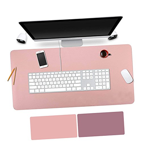 OuTera Leather Desk Pad Waterproof PU Laptop Writing Mat for Office and Home - 35.4''x15.8'' (Pink & Purple) by OuTera
