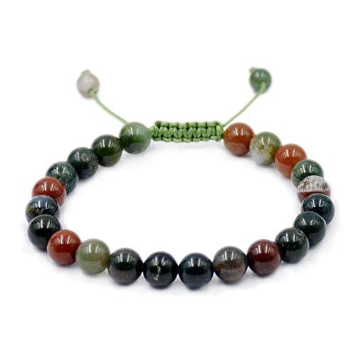 Agate Stones Bead Healing Bracelet - AD Beads Natural 8mm Gemstone Bracelets Healing Power Crystal Macrame Adjustable 7-9 Inch (Indian Agate)