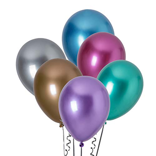 Frosttoad 12 Inch Pearlescent Metallic Latex Color Balloon,(50 Pcs) Birthday, Party, Banquet, Celebration, Holiday Balloon